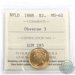Newfoundland $2 1888 Gold Obverse 3 ICCS Certified MS-62