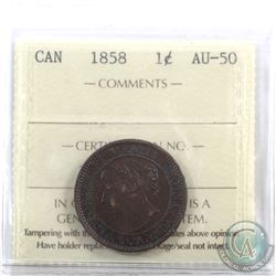 1-cent 1858 ICCS Certified AU-50