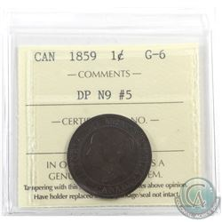 1-cent 1859 DP N9#5 ICCS Certified G-6