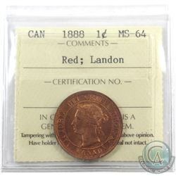 1-cent 1888 ICCS Certified MS-64 Red; Landon. Full Deep Orange original lustre.
