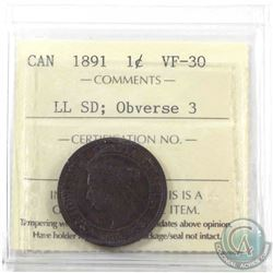 1-cent 1891 LL SD ICCS Certified VF-30 Obverse 3