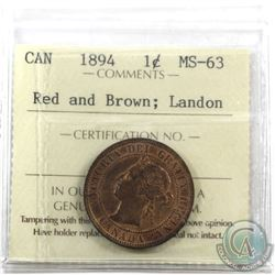 1-cent 1894 ICCS Certified MS-63 Red and Brown; Landon