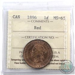 1-cent 1896 ICCS Certified MS-65 Red. Beautiful strike with nice full lustre.