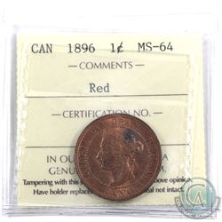 1-cent 1896 ICCS Certified MS-64 Red