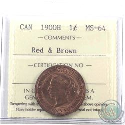 1-cent 1900H ICCS Certified MS-64 Red & Brown
