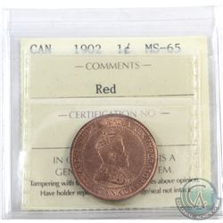1-cent 1902 ICCS Certified MS-65 Red