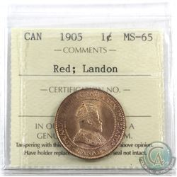 1-cent 1905 ICCS Certified MS-65 Red; Landon. Spectacular strike 90% full red!