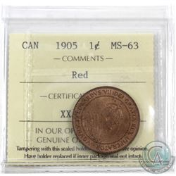 1-cent 1905 ICCS Certified MS-63 Red