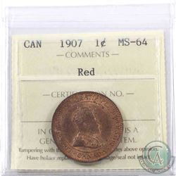 1-cent 1907 ICCS Certified MS-64 Red. A near full red coin with lustrous fields.