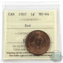 1-cent 1907 ICCS Certified MS-64 Red. A nice original coin with consistant burnt orange finish.
