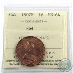 1-cent 1907H ICCS Certified MS-64 Red. A very choice eye appeal coin. Coin has almost 100% original