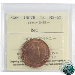 """1-cent 1907H ICCS Certified MS-63 Red. A great mint state coin with the tougher """"H"""" mint mark."""