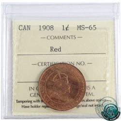 1-cent 1908 ICCS Certified MS-65 Red. A nice first Canadian mint issue coin, with full strike detail