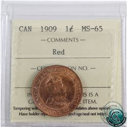 1-cent 1909 ICCS Certified MS-65 Red.