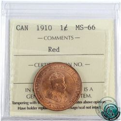 1-cent 1910 ICCS Certified MS-66 Red! 1 of 4 known! An exquisite coin with soft satin like fields an