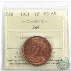1-cent 1911 ICCS Certified MS-65 Red. Attractive lustre throughout!