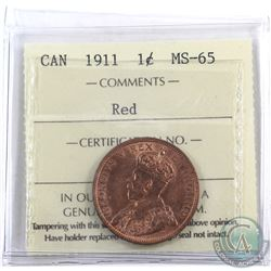 1-cent 1911 ICCS Certified MS-65 Red