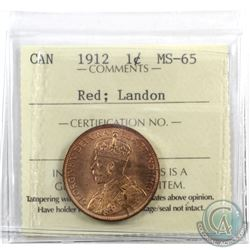 1-cent 1912 ICCS Certified MS-65 Red; Landon. An attractive original coin with soft satin fields and