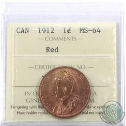 1-cent 1912 ICCS Certified MS-64 Red.