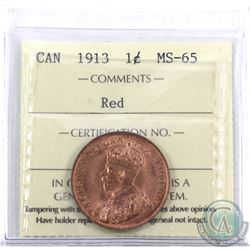 1-cent 1913 ICCS Certified MS-65 Red. Nice full Red coin with choice eye appeal.