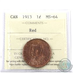 1-cent 1913 ICCS Certified MS-64 Red.