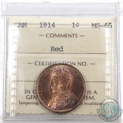1-cent 1914 ICCS Certified MS-65 RED! Old embossed 2 letter holder!