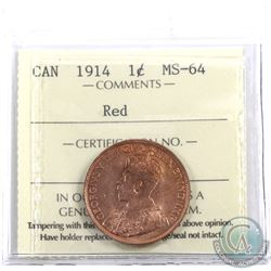 1-cent 1914 ICCS Certified MS-64 Red.