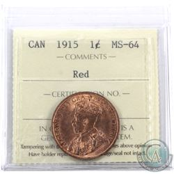 1-cent 1915 ICCS Certified MS-64 Red