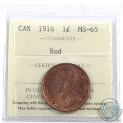 1-cent 1916 ICCS Certified MS-65 Red