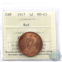 1-cent 1917 ICCS Certified MS-65 Red