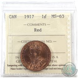 1-cent 1917 ICCS Certified MS-63 RED.