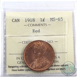 1-cent 1918 ICCS Certified MS-65 Red. A lustrous coin with deep tones throughout.