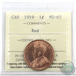 1-cent 1919 ICCS Certified MS-65 Red. A nice original lustrous coin with consistent colour and eye a