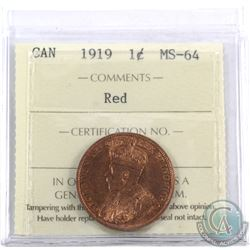 1-cent 1919 ICCS Certified MS-64 Red. Nice even lustre.