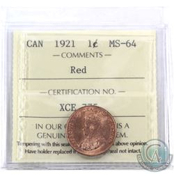 1-cent 1921 ICCS Certified MS-64 Red. Smooth satin fields with flashy lustre.