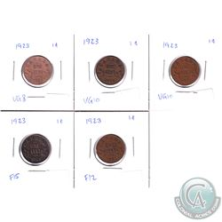 1-cent 1923: VG, 2x VG-F, Fine & F-VF. 5pcs