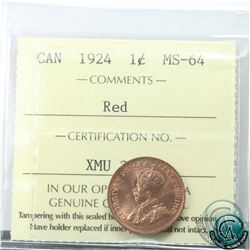 1-cent 1924 ICCS Certified MS-64 Red. Bright coin with radiant lustre throughout. Choice eye appeal!