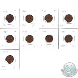 1-cent 1924: 3x Fine, 2x F-VF, 2x VF, VF-EF & AU. 9pcs