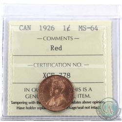 1-cent 1926 ICCS Certified MS-64 Red. Amazing eye appeal! Very tough to find this key date in mint s