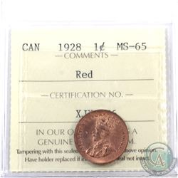 1-cent 1928 ICCS Certified MS-65 Red. Tied for the highest grade. A great full red coin with soft sa