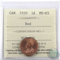 1-cent 1929 ICCS Certified MS-65 Red. A nice choice full red coin with great eye appeal, rare in min