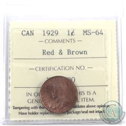 1-cent 1929 ICCS Certified MS-64 Red & Brown