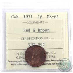1-cent 1931 ICCS Certified MS-64 Red & Brown