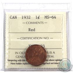 1-cent 1932 ICCS Certified MS-64 Red. Deep orange original lustre!