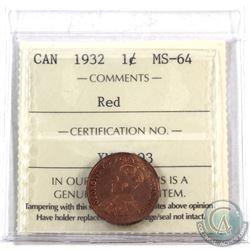 1-cent 1932 ICCS Certified MS-64 Red. Deep orange original lustre!
