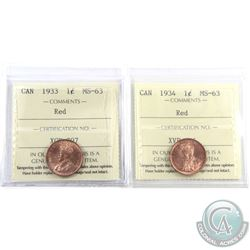 1-cent 1933 & 1934 ICCS Certified MS-63 Red. 2pcs