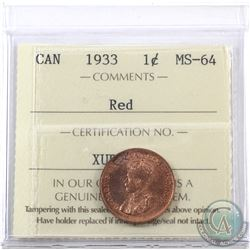 1-cent 1933 ICCS Certified MS-64 Red.