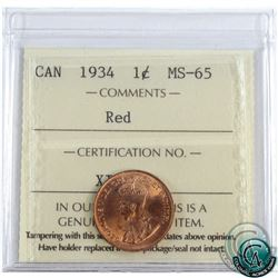 1-cent 1934 ICCS Certified MS-65 Red. Exceptional Eye Appeal!