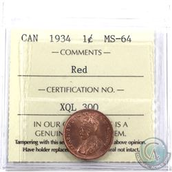 1-cent 1934 ICCS Certified MS-64 Red.