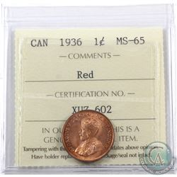 1-cent 1936 ICCS Certified MS-65 Red. A nice choice full red coin with great eye appeal.
